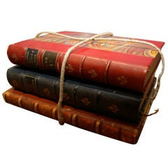 Pack of 3 Antique Decorative Leather Bound Books