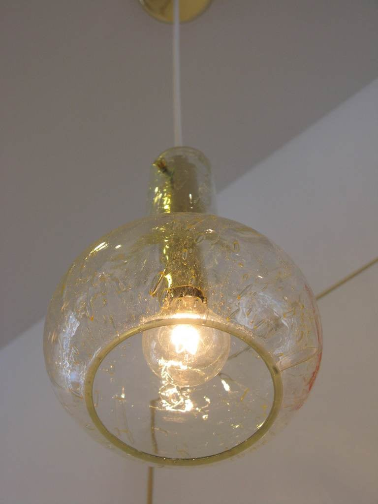 Set Of 3 Brass And Glass Doria Pendant Lights At 1stdibs
