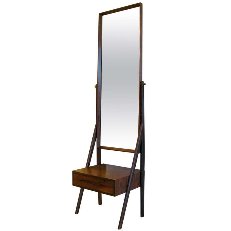 Rosewood Standing Mirror With Drawer At 1stdibs