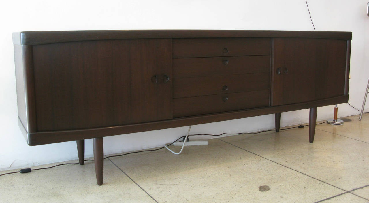 h w klein teak sideboard or credenza at 1stdibs. Black Bedroom Furniture Sets. Home Design Ideas