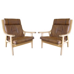 Pair of Hans Wegner Oak & Leather Armchairs