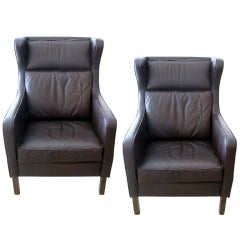 Pair of Danish Aged Leather Wingbacks