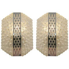 Pair of Bubbled Glass & Polished Nickel Sconces