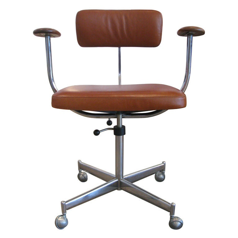 KEVI Camel Leather and Teak Desk Chair at 1stdibs