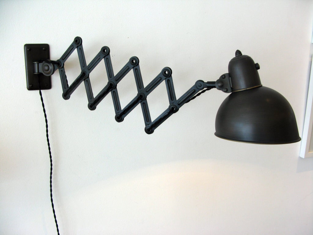 original kaiser idell scissor wall light at 1stdibs. Black Bedroom Furniture Sets. Home Design Ideas