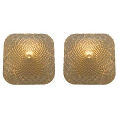 Pair of Square Faceted Glass Sconces