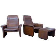 Pair of De Sede Leather Recliners