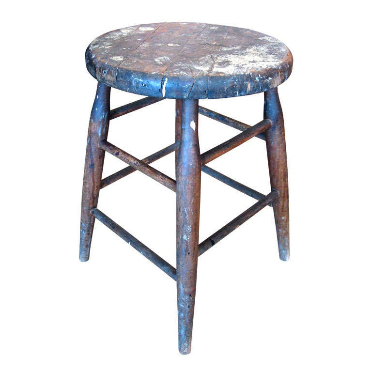 Primitive Wooden Milking Stool At 1stdibs