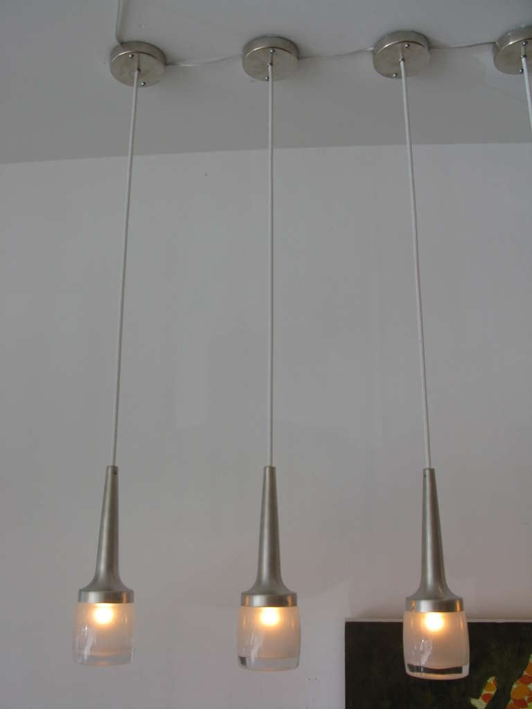 set of 3 slim frosted glass pendant lights at 1stdibs