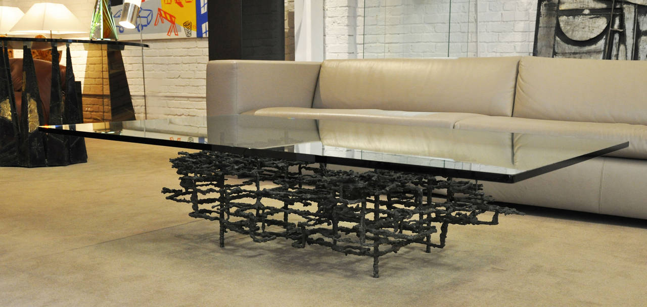 Brutalist Mid-Century Modern Coffee Table In Excellent Condition For Sale In Los Angeles, CA