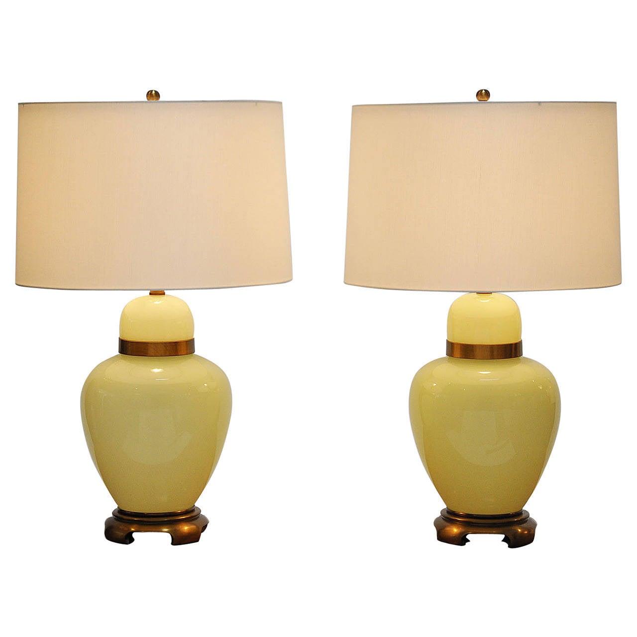 Italian Glass Lamps, Pair