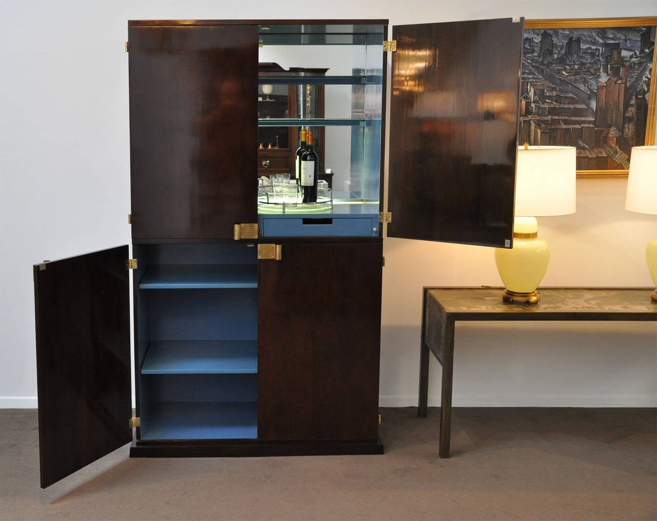 Brass Tommi Parzinger Bar Cabinet Illuminated For Sale