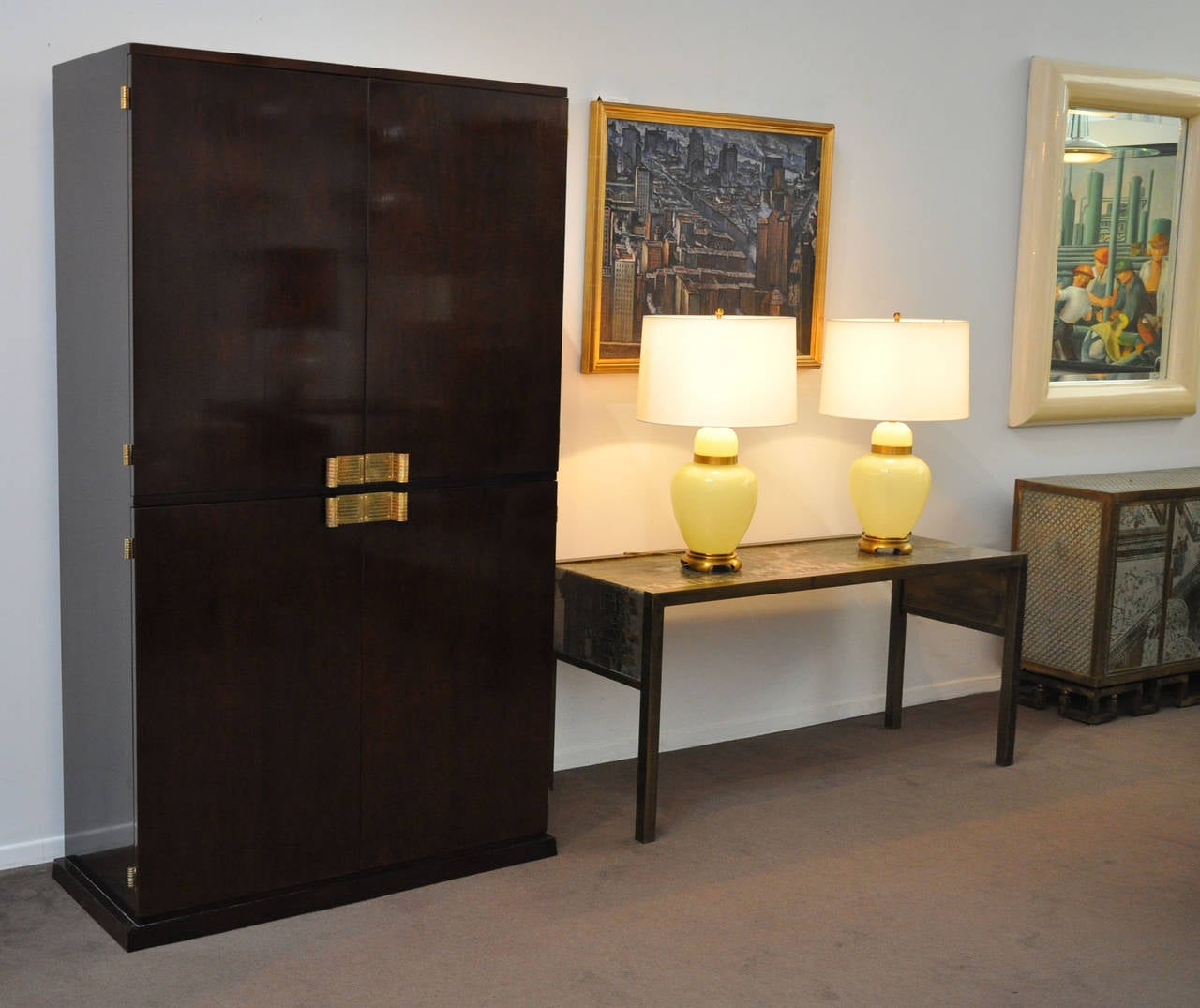 Mid-Century Modern Tommi Parzinger Bar Cabinet Illuminated For Sale