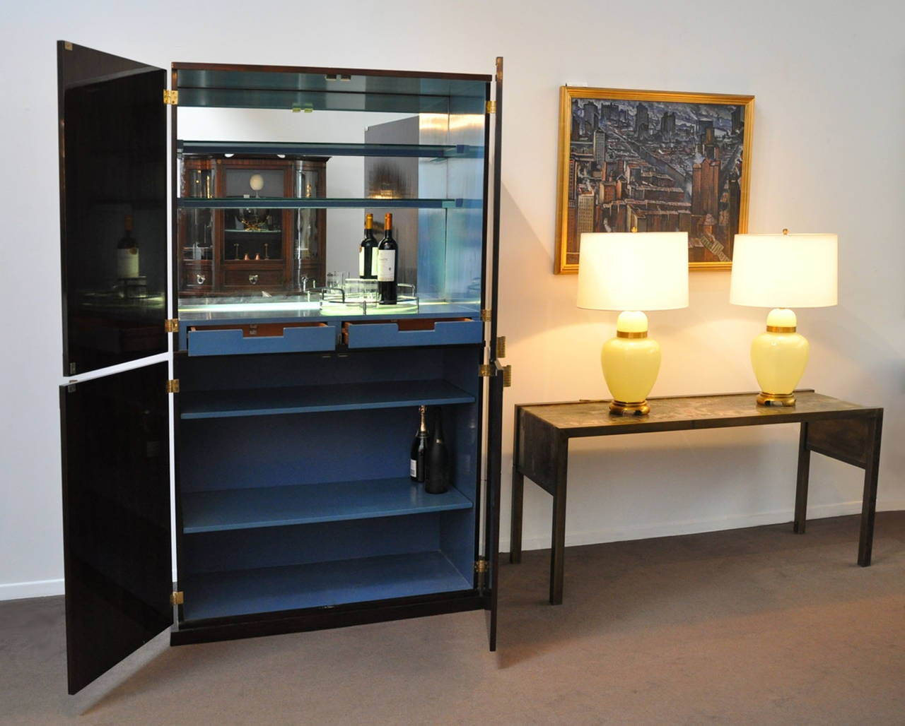 American Tommi Parzinger Bar Cabinet Illuminated For Sale