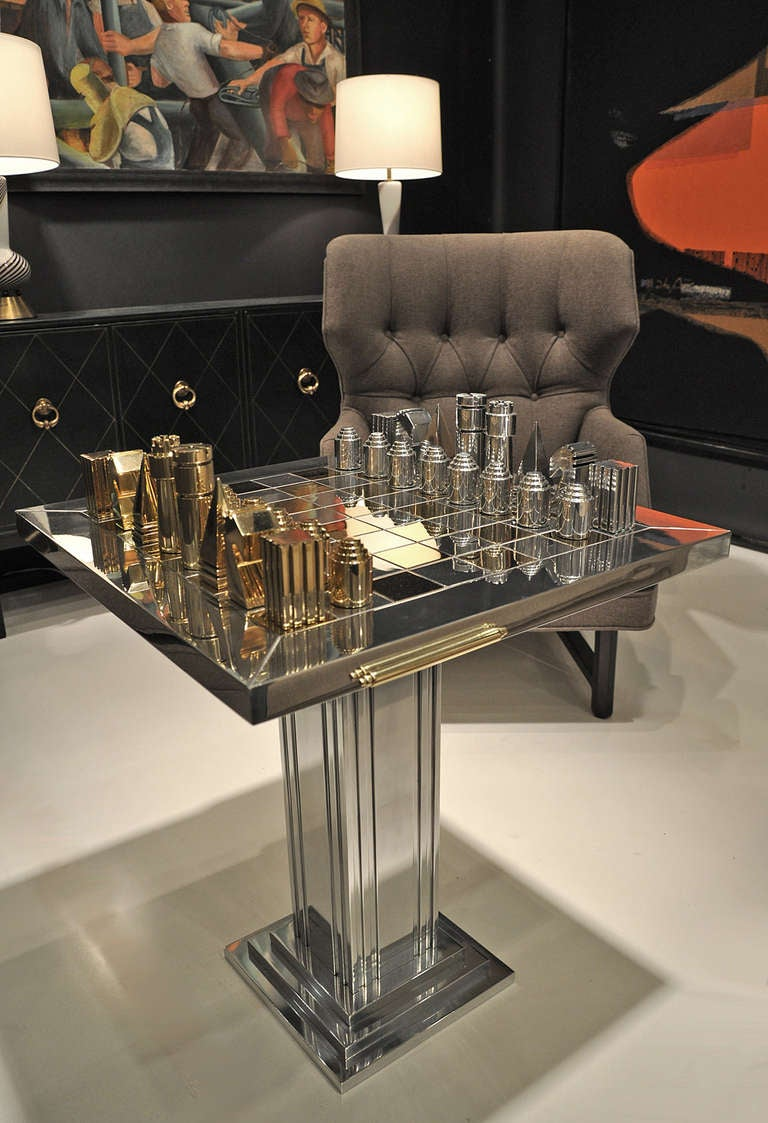 1970s Polished Aluminum And Brass Chess Table And Pieces
