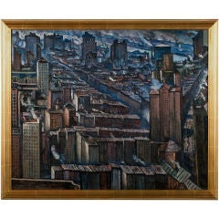 Jean Negulesco New York City Scene, 1929 signed Oil on Canvas