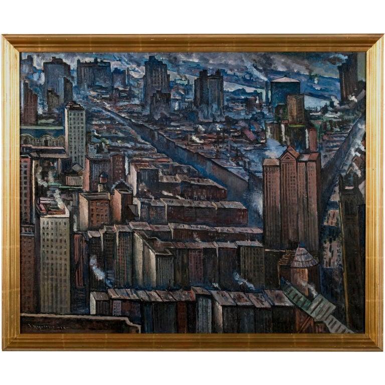 Jean Negulesco New York City Scene, 1929 signed Oil on Canvas