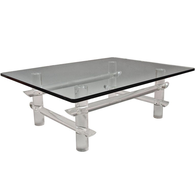 Les Prismatiques Clear Lucite And Glass Coffee Table For
