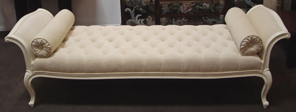 American 1940s Daybed- Cream Lacquer with Oyster Chenille Upholstery