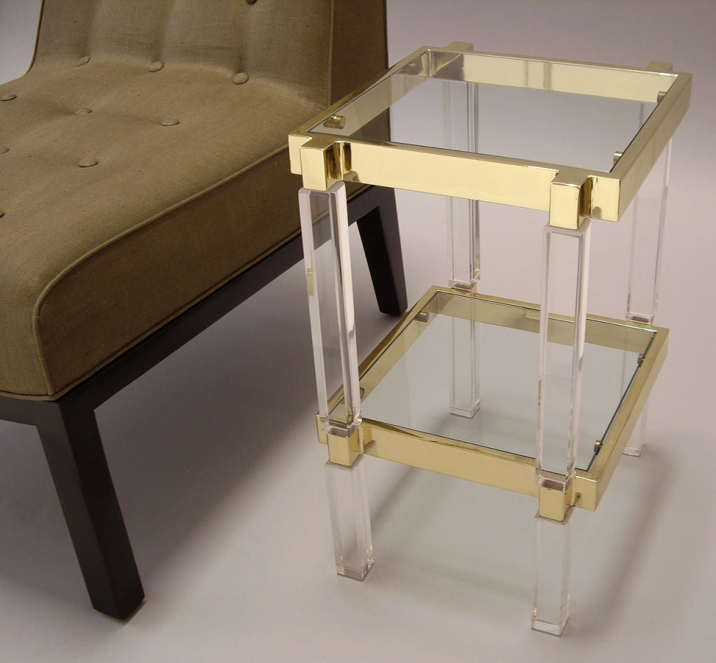 Polished Brass and Lucite Side Table at 1stdibs