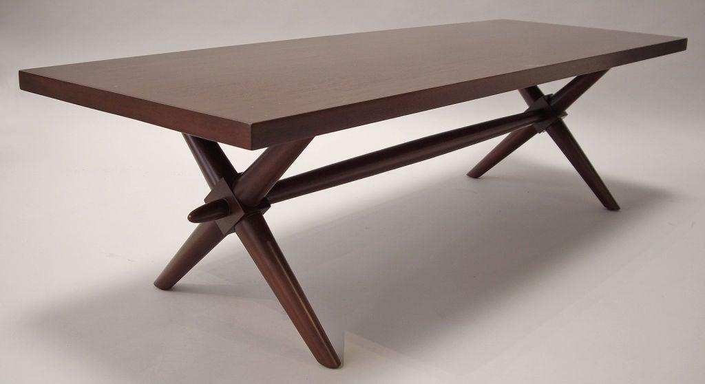 Rectangular X-base coffee table designed by T.H. Robsjohn-Gibbings for Widdicomb.