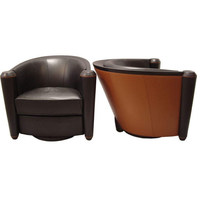 Pace collection pair of leather club chairs swivel at 1stdibs for Swivel club chair leather