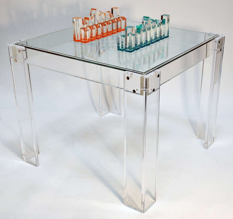 1970s Lucite And Glass Game Table With Lucite Chess Pieces