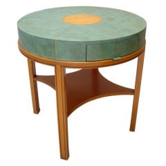 Tommi Parzinger (1903-1981) Leather Clad Table with Mahogany