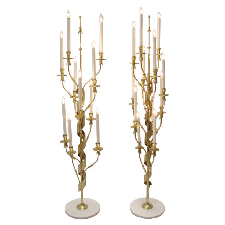 Floor Lamps Italian Pair Brass and Marble 1