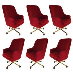 Six Chairs  Nicos Zographos Chairs Polished Bronze and Mohair