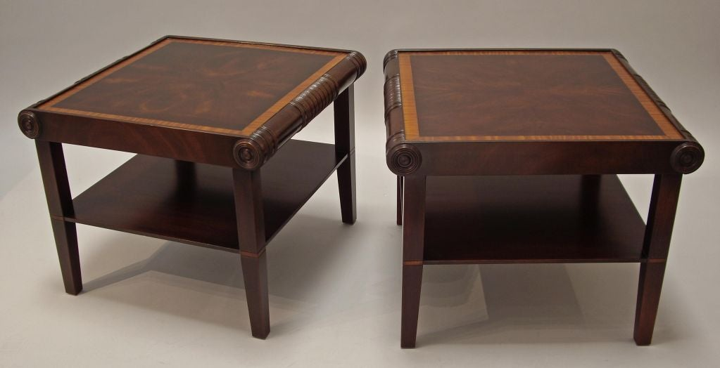 American s carved and inlaid wood side tables at stdibs