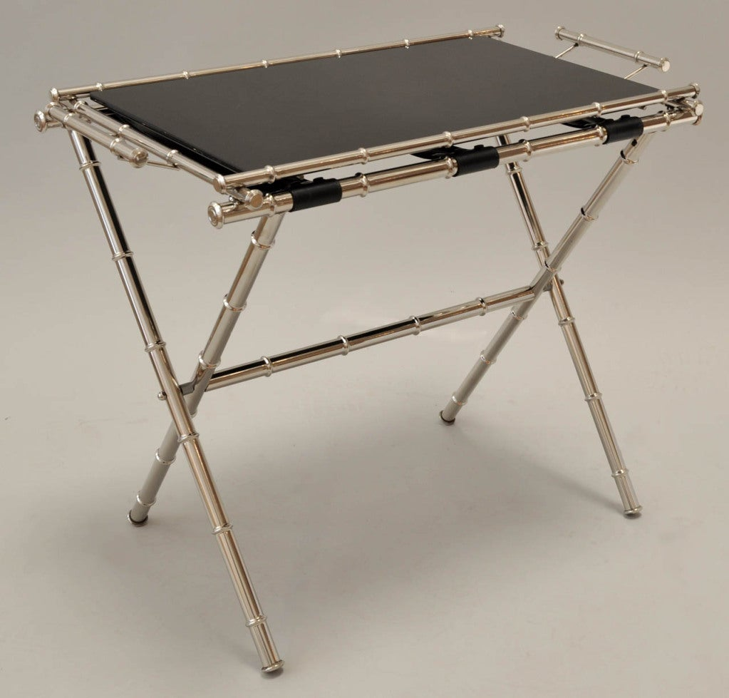 Glass Top Folding Tray Table At 1stdibs