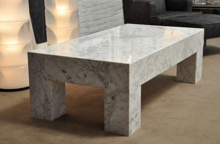 1970s White Carrera Marble Coffee Table At 1stdibs