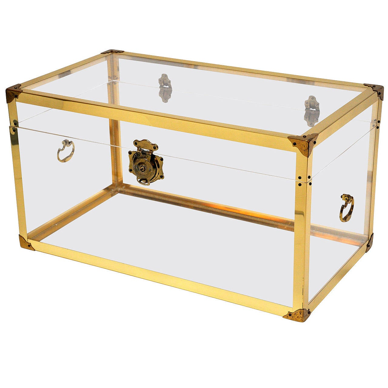 1970s Brass And Clear Trunk Or Coffee Table At 1stdibs