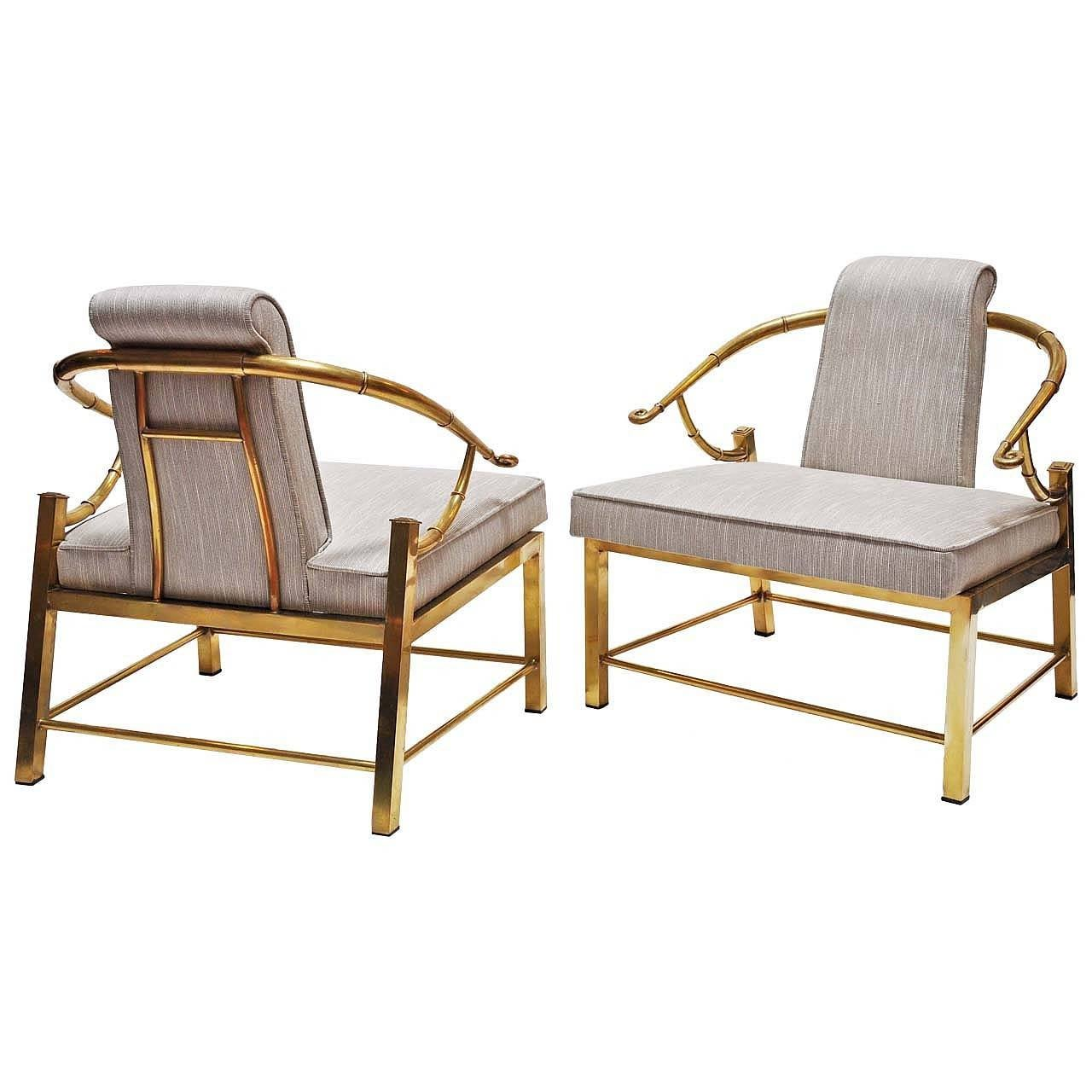 Pair of Mastercraft Chairs, Brass, Upholstery