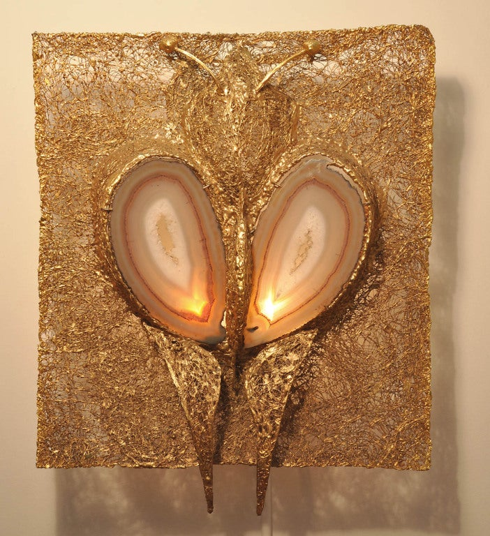 """Rare """"Luna"""" wall sconce. An illuminated wall sculpture. Designed by Jacques Duval Brasseur. Handcrafted in metal with mounted agate."""