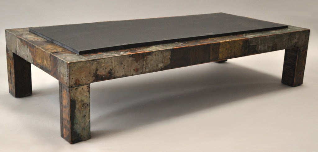 paul evans 1931 1987 patchwork metal and slate coffee table at 1stdibs. Black Bedroom Furniture Sets. Home Design Ideas