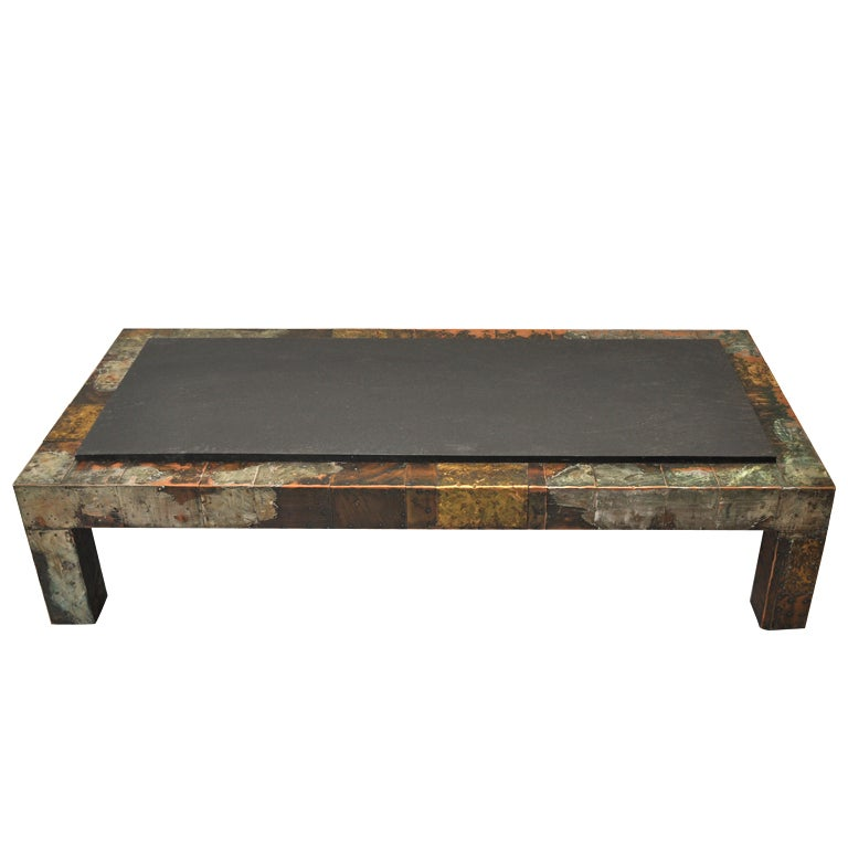 Paul Evans 1931 1987 Patchwork Metal And Slate Coffee Table At 1stdibs