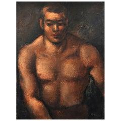 """Jon Cornin (1905-1992) Oil on Board """"Portrait of a Wrestler"""""""