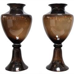 "Pair of 20.5"" Italian Glass Vases by Seguso"