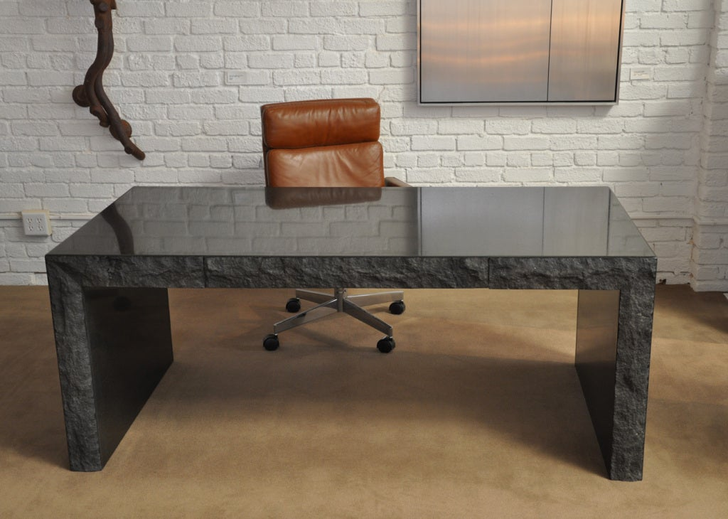 Polished  Granite Desk with Drawers  by Michael Taylor For Sale