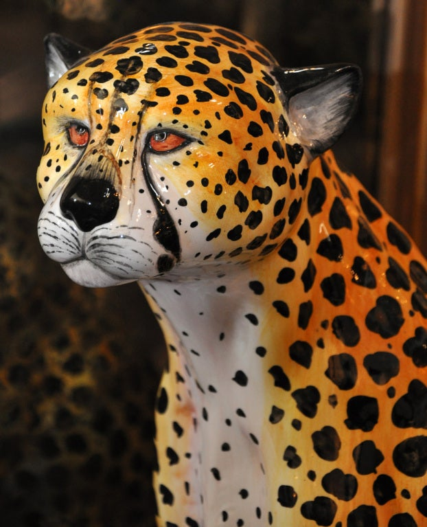 Italian - Glazed Ceramic Cheetah In Excellent Condition In Los Angeles, CA