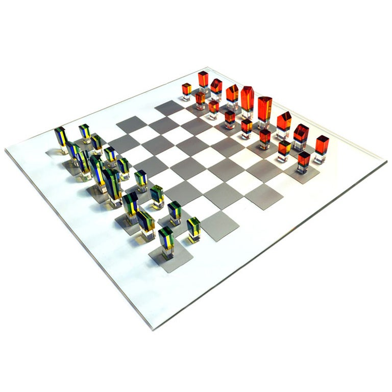 1970s Beautiful Multi Colored Acrylic Chess Set At 1stdibs