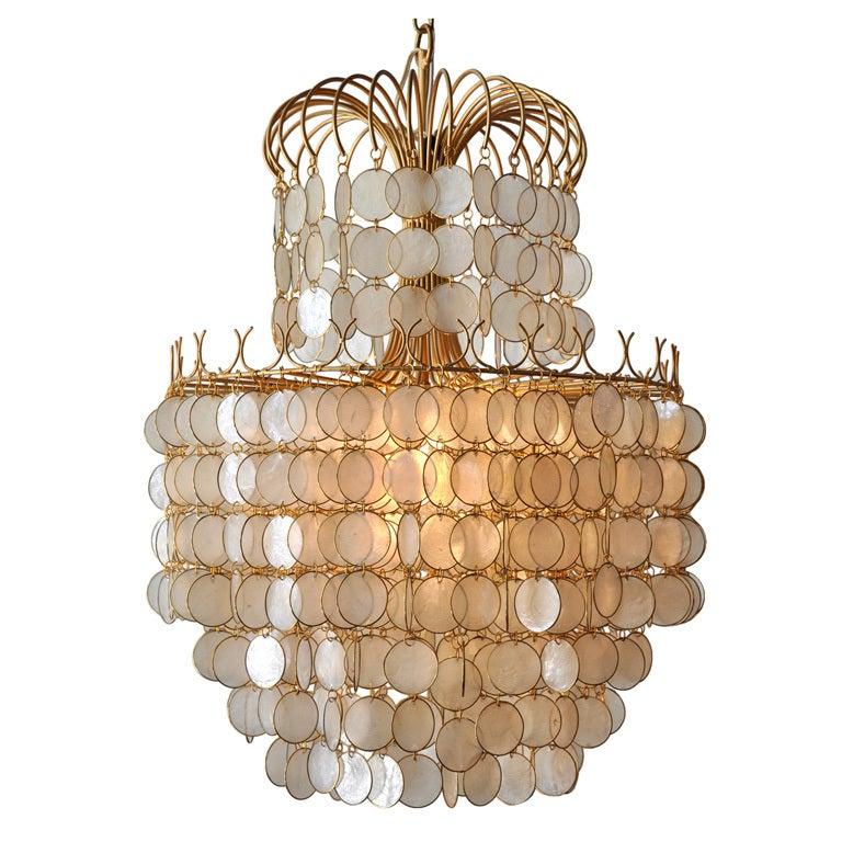 Shell Chandeliers Lighting : Shimmering capiz shell hanging chandelier at stdibs