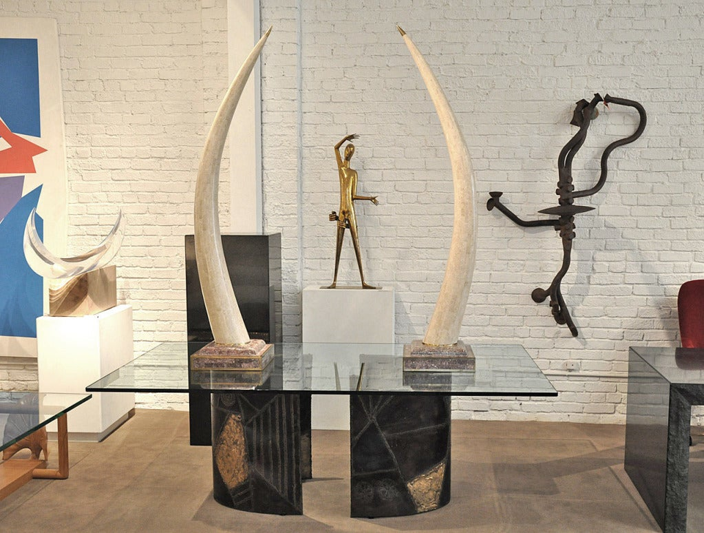 Hand-Crafted Maitland Smith Decorative Faux Tusks For Sale