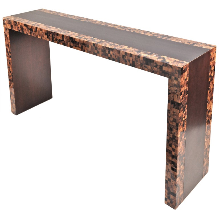 S horn and wood console table at stdibs