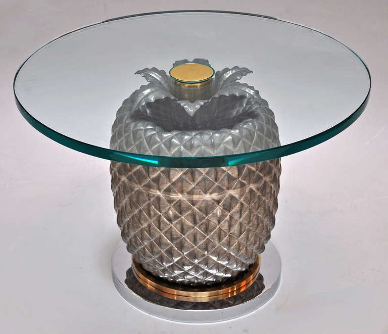 Stylized 1960s Italian pineapple table. Glass, pewter, polished chrome and polished brass.