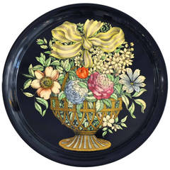 Large Italian Decorated Metal Tray by Fornasetti