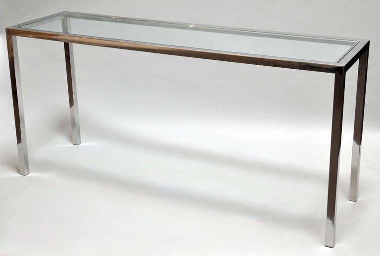 1970s tall console table polished chrome and glass at 1stdibs for Tall console table