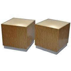 1970s - Milo Baughman (1923-2003) Pair of Illuminated Tables/Nightstands
